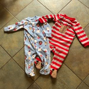 Carter's winter footed sleepers 9 months Christmas